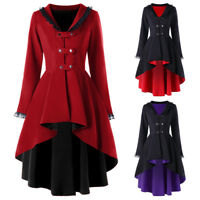 Punk Rave Gothic Women Lace Coat High Low Cosplay Steampunk Witch Long Jacket