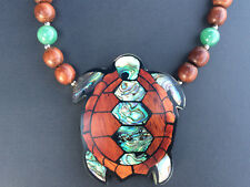 Lee Sands Hono Sea Turtle Paua Shell Inlay Bayong Wood Necklace