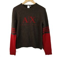 Vintage Armani Exchange Spell Out Lambswool Knit Sweater 90s Size Medium