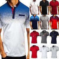 Herren Sommer T-Shirt Slim Fit Poloshirt Kurzarm Oberteil Muskel Tops Tee Shirts