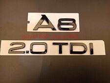 Gloss Black A 8+2.0 TDI Trunk Rear Number Letters Words Badge Emblem for Audi