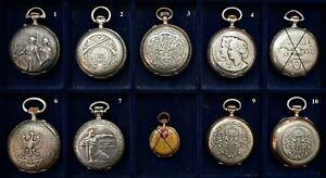 Sammlung 8 Stück Taschenuhren - extrem seltene Schützenuhr + Kaiser Uhr
