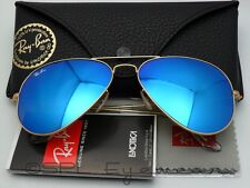 Ray Ban Aviator 3025 112/17 Gold Blue Mirror 55MM 100% Authentic Made in Italy