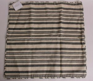 """set/2 NWT Pottery Barn Antique Stripe Print 20"""" pillow covers, gray striped"""