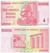 Zimbabwe 100 Million Dollars 2008 P-80 AA Prefix  aUNC  About Uncirculated