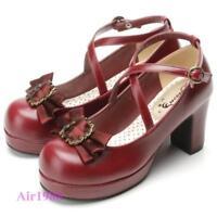 Lolita Women's Round Toe Cross Strap Block Heels Shoes Party Court Cosplay Pumps