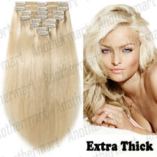 Thick Clip in Human Remy Hair Extensions Full Head Double Wefted Curl Dye P716