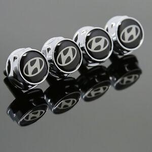 4PCS Car Metal License Plate Frame Screw Bolt Cap Covers Nuts For HYUNDAI Logo
