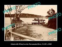 OLD LARGE HISTORIC PHOTO OF GLADESVILLE NSW, WHARF ON THE PARRAMATTA RIVER c1900