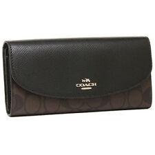 NWT!!  Coach F54022 Signature PVC Slim Envelope Wallet Brown/ Black