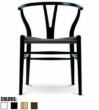Modern Wishbone Wood Arm Chair Armchair Modern with Natural Black Woven Seat