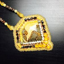 Huge Picture Jasper Yellow Beaded Bezel Cabochon Agate Stone Statement Necklace