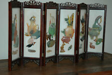 Chinese stone hand-carved screen, semi-precious stones