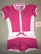 NEW JUICY COUTURE 12 18 MO PINK ROMPER WHITE SHORTS SPORTY