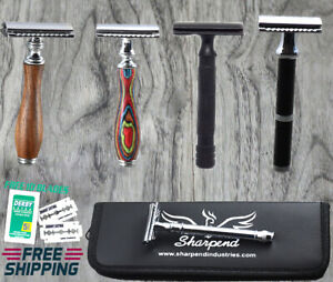 Mens Double Edge Shaving Safety Razor Shaver + 10X Blades With Pouch