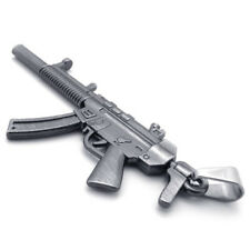 Stainless Steel MP5SD Submachine Toy Gun Model Replica Pendant + Chain Necklace