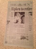 "2001 CAL RIPKEN JR. *ONE OF A KIND* NEWSPAPER PRINTING PLATE ""Ripken to Retire"""