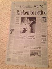 "2001 CAL RIPKEN JR. *ONE OF A KIND* NEWSPAPER PRINTING PLATE ""Ripken to Retire"""