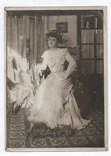 PHOTO ANCIENNE MODE FASHION Femme Portrait Vers 1910 Robe blanche dentelle Salon