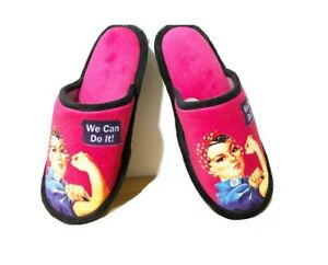 New Rosie the Riveter Slippers Shoes One Size Fits Most We Can Do It World War 2