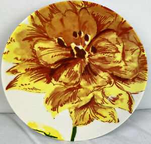 Pottery Barn Graphic Garden Plate 8 Inch Yellow Flower