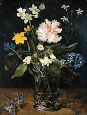 Still Life with Flowers by Brueghel 100% Cotton Canvas Giclee Print Poster New
