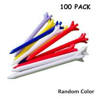 100pcs 70mm Plastic Golf Tees Castle Rubber Cushion Top Multi Colour Non-Slip