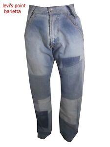 jeans larghi uomo energie con toppe hip hop rap svasato strappi taglia w28 w34