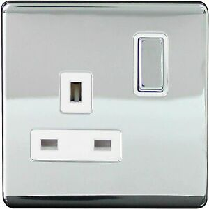 Arlec 13Amp Single Switched Socket Screwless Polished Chrome 1 Gang 9111GBCH NEW