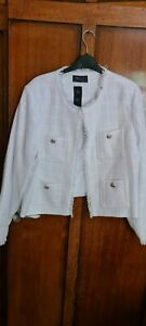 Stunning BNWT M & S Ivory Tweed Box Designer Inspired Jacket Size 22 £79