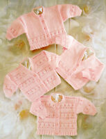 """Baby Lace Pattern Cardigans (4 options) 4 Ply Wool 12"""" - 22"""" Knitting Pattern"""
