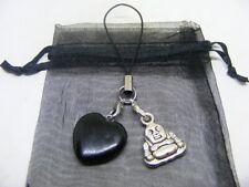 Natural Black Obsidian Heart & Buddha Mobile Phone / Handbag Charm
