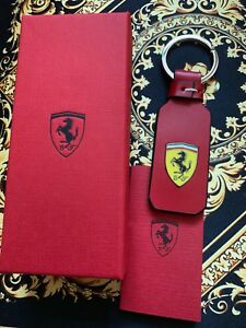 Genuine Ferrari RED LEATHER KEYRING WITH SHIELD Extremely RARE Brand NEW