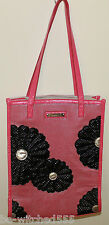 Pink Black Tote Bag Daisy Flowers Beach Shopper Travel Large Hand Bag Lined