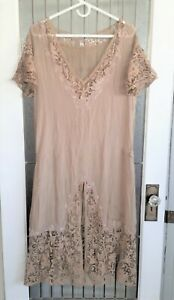 ANTIQUE 1920'S NUDE SILK  FLAPPER DRESS WITH GORGEOUS BEADING ON HANDMADE LACE