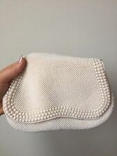 Vintage 50s 60s White Beaded Dot Purse Clutch