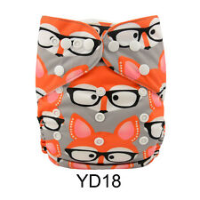 AlvaBaby Boy Cloth Diaper Reusable Onesize Washable Nappy +1Insert Foxes