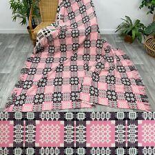 """More details for vintage welsh wool tapestry reversible blanket pink, black, cream 90"""" x 84"""" k52#"""