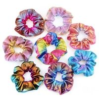 16Pcs Shiny Metallic Hair Scrunchies Ponytail Holder Elastic Hair Ties Bands TO