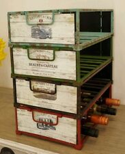 16 Bottle Stackable Wine Rack Vintage Style Crate Shabby Chic Bottle Holder