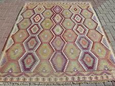 "Vintage Turkish Rugs,Wool rug,Antalya Barak Kilim 68,1""x76,3"" Floor rug,Carpet"