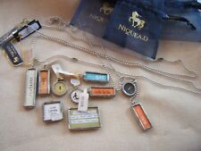 Big lot of Leaded glass & Other Charms Pendant Silver tone Chains NEW Papyrus