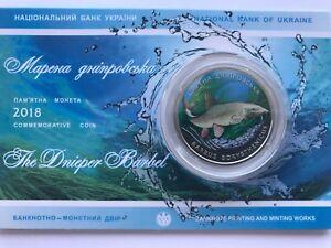 Ukraine 2 UAH The Dnieper Barbel in Buklet Nickel 2018