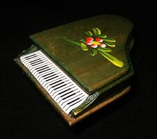 Vintage Hand Stained & Painted WOOD Dollhouse Grand PIANO Floral