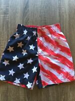 OP Boys Board Shorts Sz XS 4-5 American Flag Mesh Lined Swim Trunks