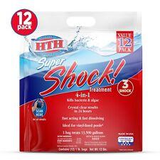 HTH Super Shock Pool Shock Treatment, 1 lb Granule Bags, 12 ct