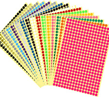 6528 Pcs 14 Small Color Coding Circle Dot Stickers Round Coding Dot Labels16