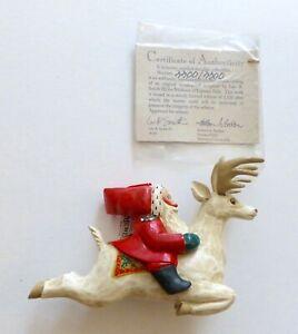 Leo Smith Folk Art SANTA ON REINDEER Christmas Ornament..Ltd Ed