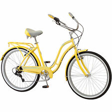 "NEW 26"" Schwinn Fairhaven Women's 7 Speed Cruiser Bicycle Bike YELLOW"