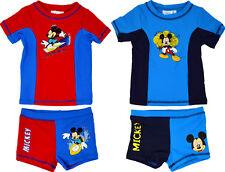 Official Mickey Mouse Niño Traje de Baño Disney Natación Ropa Corto Camisa Set